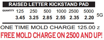 raised letter kickstand pricing